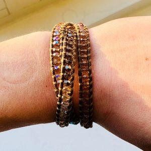 Chan Luu Swarovski Crystal Leather Wrap Bracelet